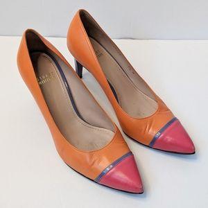 Stuart Weitzman orange colour block heels size 7.5